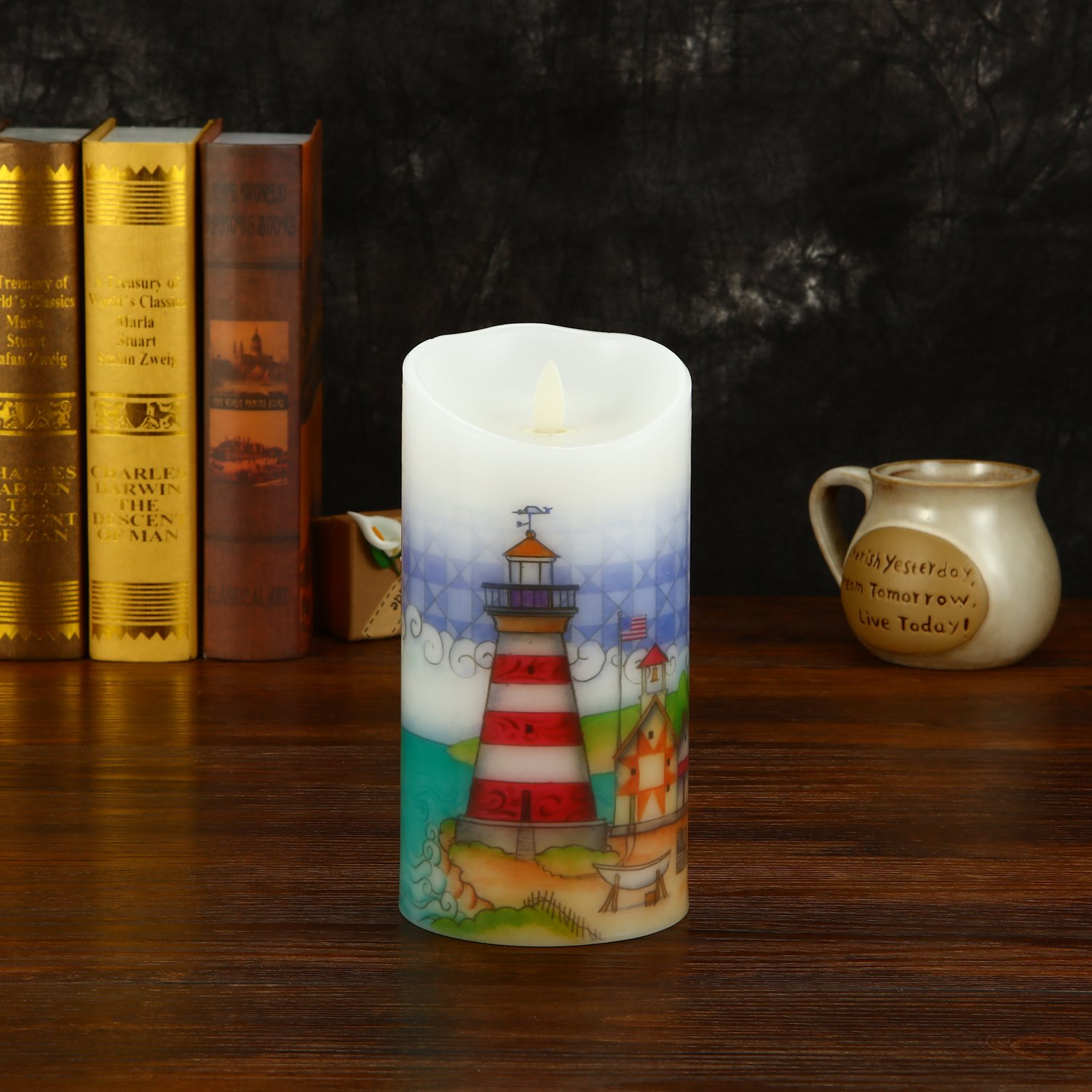 Ksperway Flameless Wax Candles, Moving Wick LED Pillar Candle with Blow ON/Off Control,Timer and Remote 3.5 by 7 Inch Picture (Lighthouse) by Ksperway (Image #6)