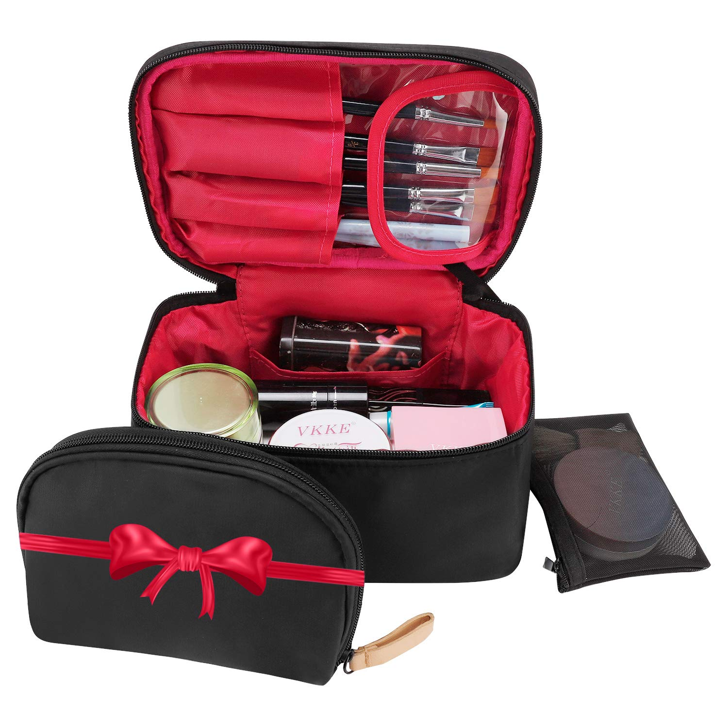 Travel Makeup Bag,wllife Makeup Bag Organizer Cosmetic Makeup Bags for Women Make Up Cosmetic Bag Case with Brush Holder-Bonus Cosmetic Pouch