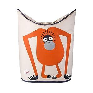 3 Sprouts Baby Laundry Hamper Storage Basket Organizer Bin for Nursery Clothes, Orangutan