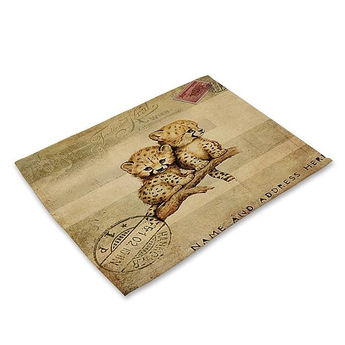 Compra Animal series paño de lino antideslizante colchones de aislamiento koala panda imprimir vajillas alfombras Cotton tela de lino + tela de la comida ...