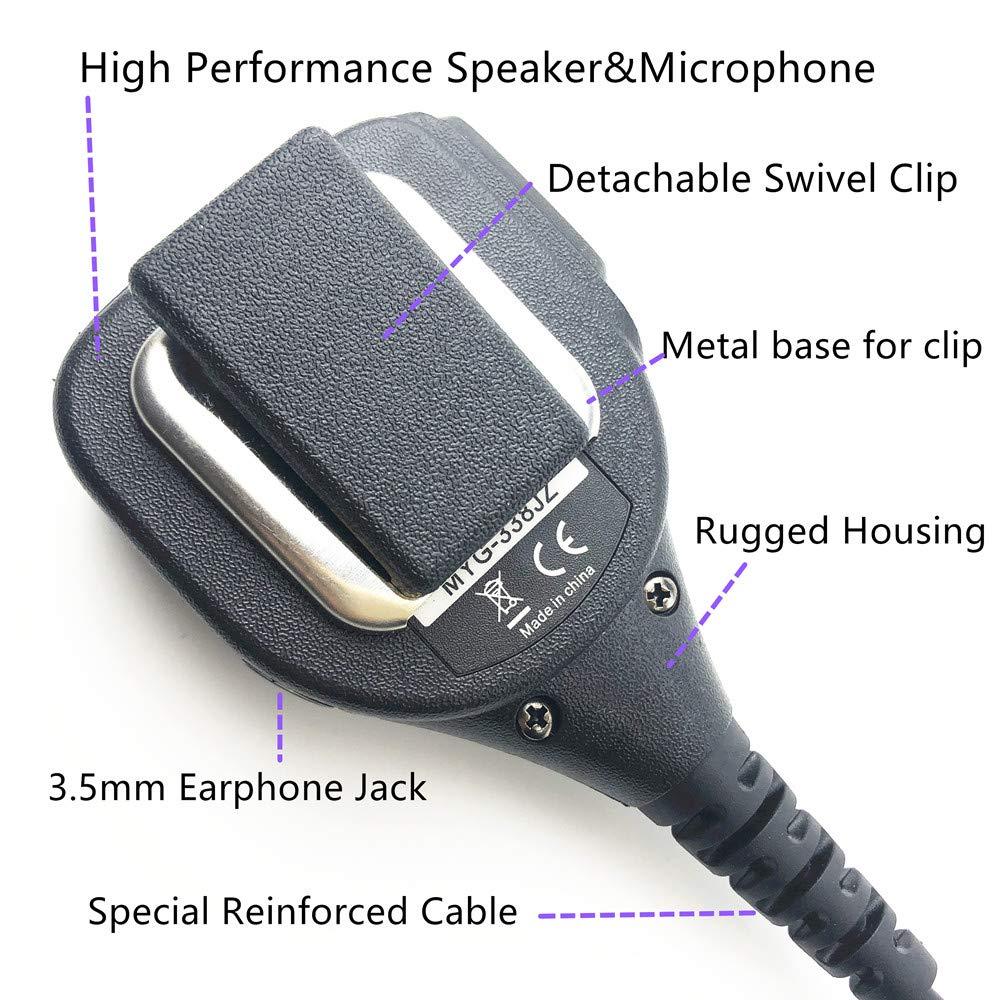 RADTEL 2 Pin Speaker Mic with Kevlar Reinforced Cable for Motorola BPR40 CP200 CP110 CP200D CP200XLS CP185 CLS1410 DTR650 PR400 RMU2040 RDU4100 GP68 GP88 GP300 GP2000 RT-67 Microphone gp2000mic
