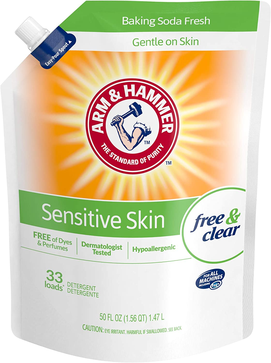 Arm & Hammer Sensitive Skin Free & Clear, 99 Loads Total Laundry Detergent Pouches, 3 pack, 50 Fl oz each