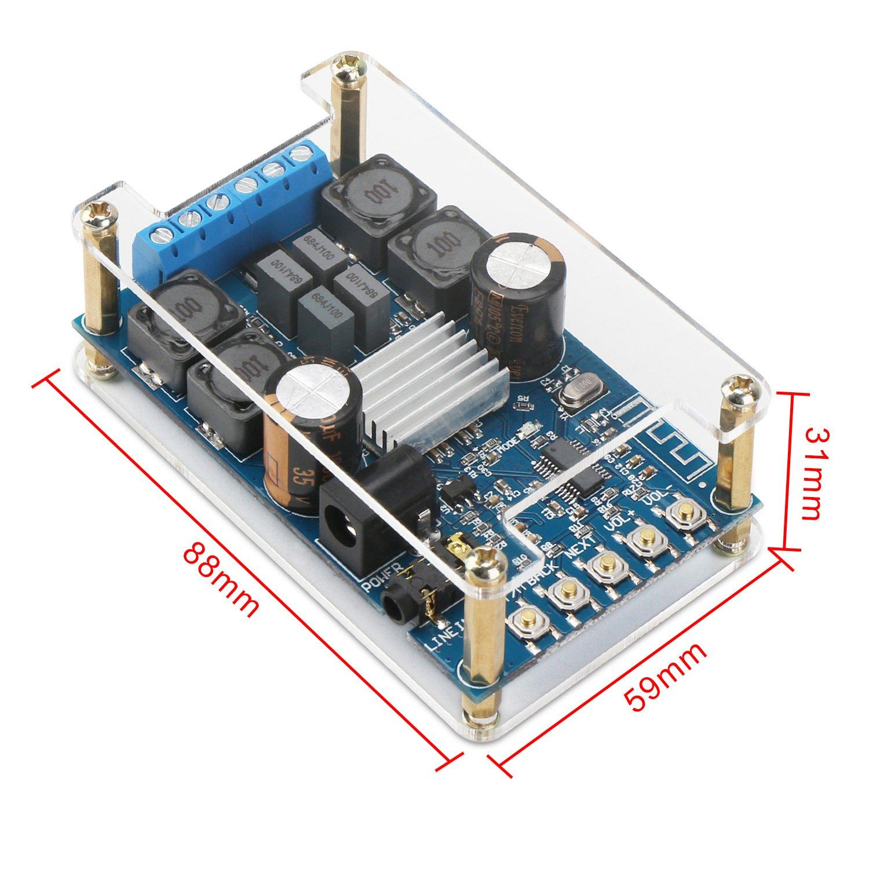 Bluetooth Amplifier Board Drok Digital Tda7492 Power Audio Circuit Blue Silver Wireless Bt 30 40 41 Amp Headphone 2 Channel 50w Small Module