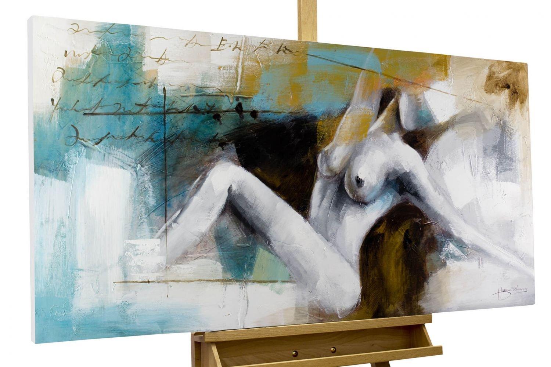 Dipinto in acrilico KunstLoft® 'Momenti di estasi' in 120x60cm | Tele originali manufatte XXL | Donna nuda in un momento erotico, dipinto a colori | Quadro da parete dipinto in acrilico arte moderna