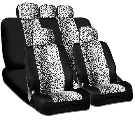New And Unique YupbizAuto Brand Safari Snow Leopard Print Universal Size Car Truck SUV Seat Covers