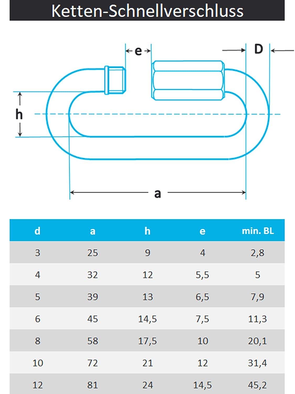 PROTECH 20 St/ück Ketten-Schnellverschluss D=8 Edelstahl A4 V4A Rostfrei Schraubglieder/Kettenverbinder/Kettenglied
