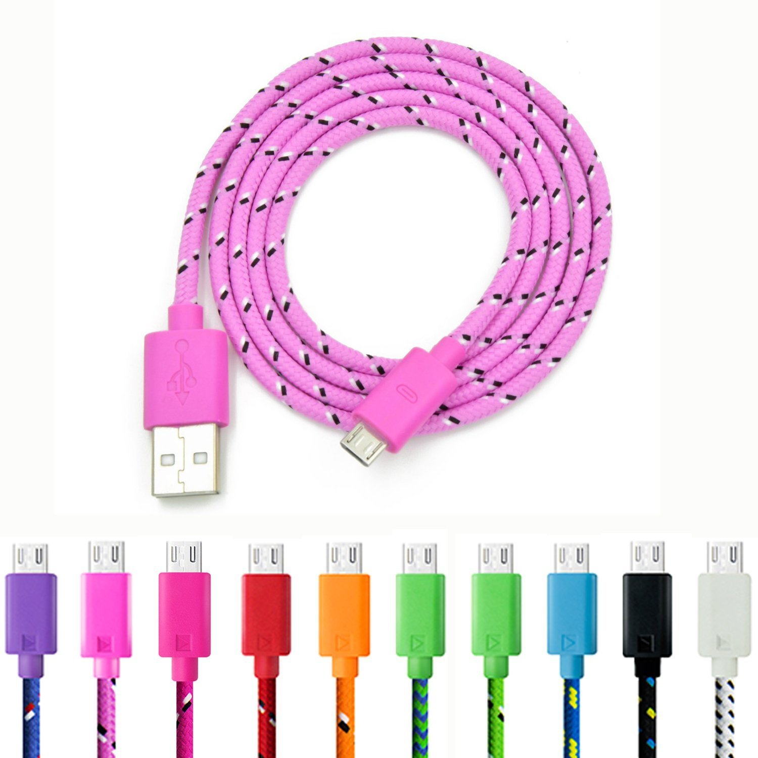 Micro USB Charger, Eversame 10-Pack Colorful 3Ft 1M Nylon Braided USB 2.0 A Male to Micro B Data Sync and Charging Cable Cord For Android Phones, Samsung Galaxy S6 Edge Plus/Note 5, HTC, LG and More