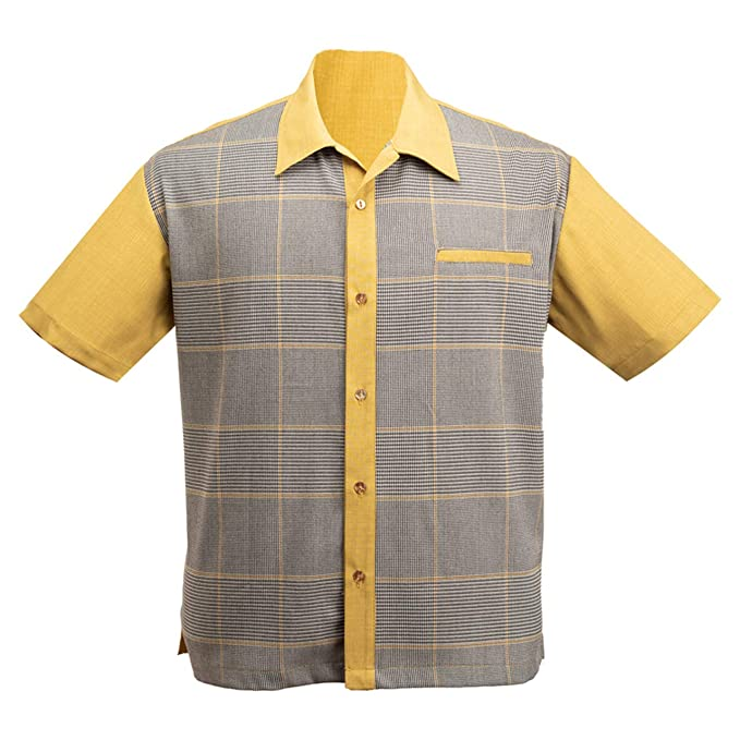 1950s Men's Clothing Steady Clothing Mens Bad News Felix Bowling Shirt Mustard $59.95 AT vintagedancer.com
