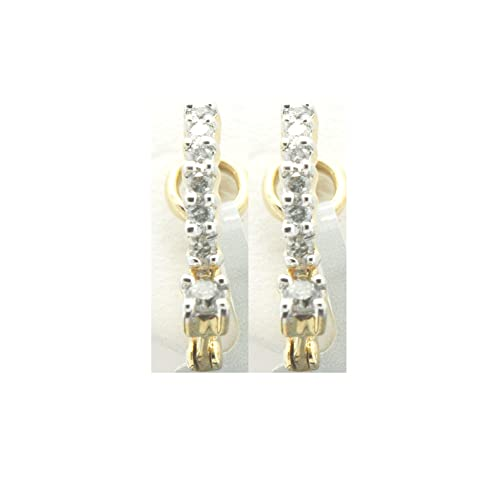 41acd7d0e924 Pendientes de aro de diamante de corte redondo con certificado IGI en oro  amarillo sólido de 14 K (claridad JK I2 quilates 0