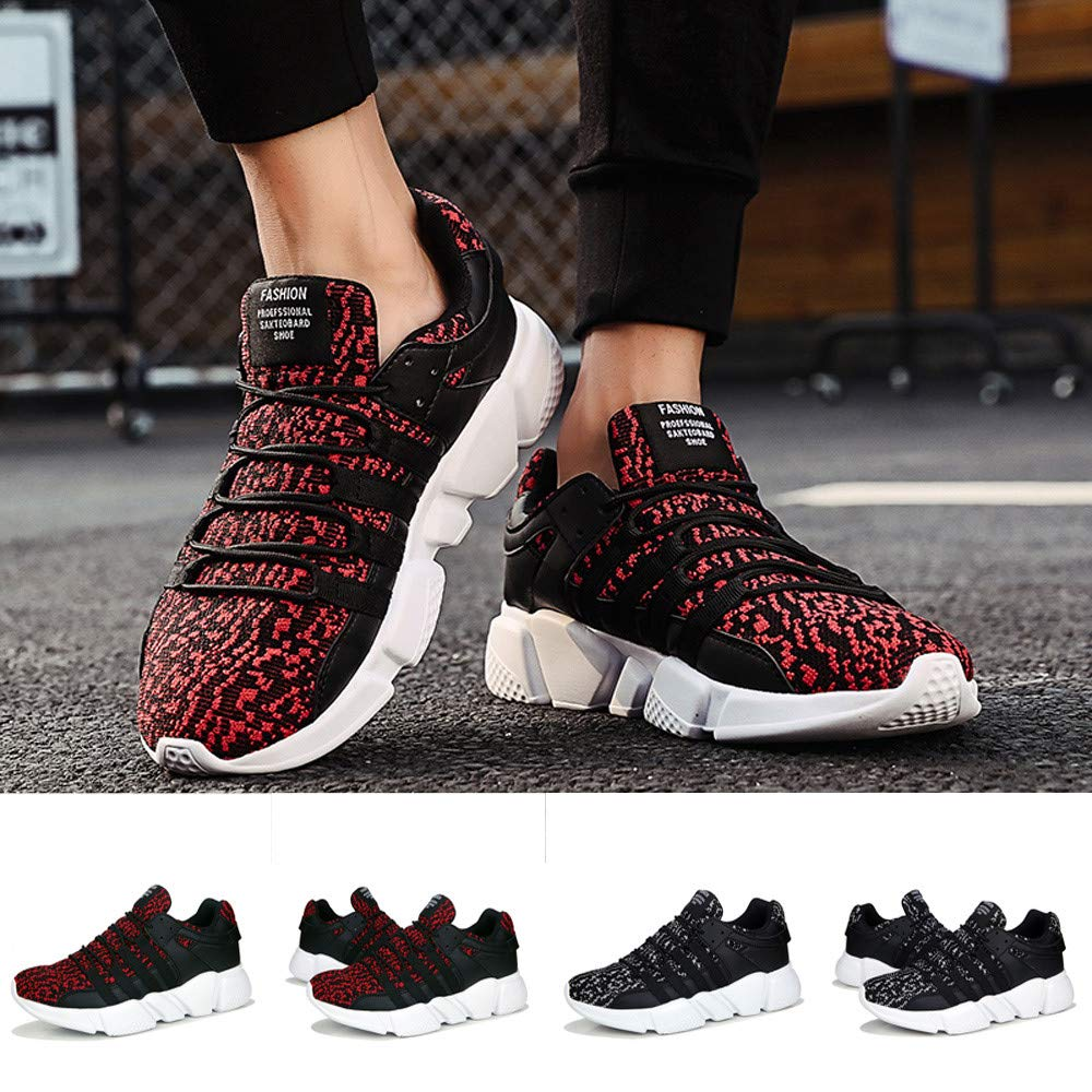 Street Shoes Men KKGG Sport Lightweight Fashion Casual Breathable Wear Resistant Shoe Lace-Up Light Sneakers Wide Outdoor Non-Slip Mesh Leisure Running Footwears for Athletic Walking Hiking Jogging