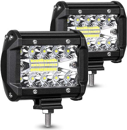 6000LM Faros Trabajo LED 12V-24V Foco LED para Tractores IP68 Impermeable Luz de Niebla para Moto Coche SUV UTV ATV Off-road Cami/ón Barco Garant/ía de 1 a/ños Safego 4 72W Focos LED Tractor