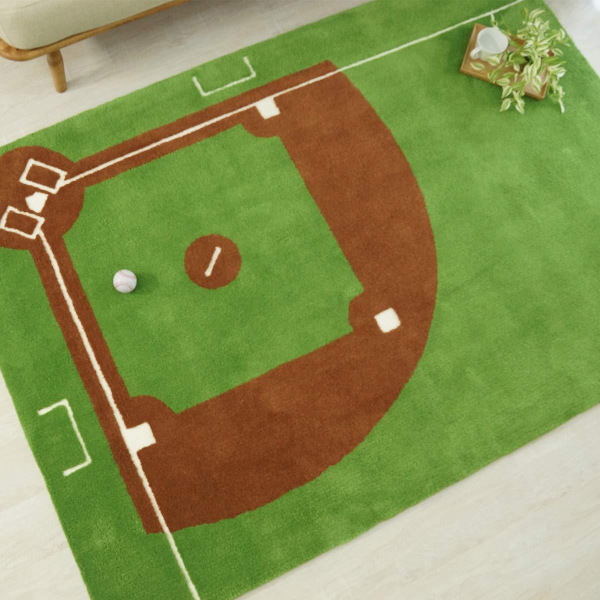 カーペット ラグ 人気のスポーツ 野球 ベースボール 140x200cm シャギー ふわふわ 日本製 【スポーツラグシリーズ】 野球(140x200cm)  B01FYZW99U