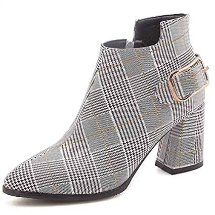 698971a9a5a8 Amazon.com  SANOMY Women Ankle Boots Fashion Metal Decorated Plaid ...