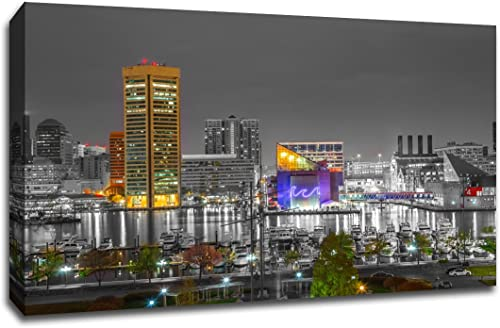 Baltimore Touch of Color Skyline 32×48 Gallery Wrapped Canvas Wall Art