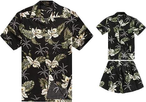 Juego Hawaiano Traje de Luau Camisa de Hombre Camisa de niño en Palma Verde en Negro: Amazon.es: Ropa y accesorios