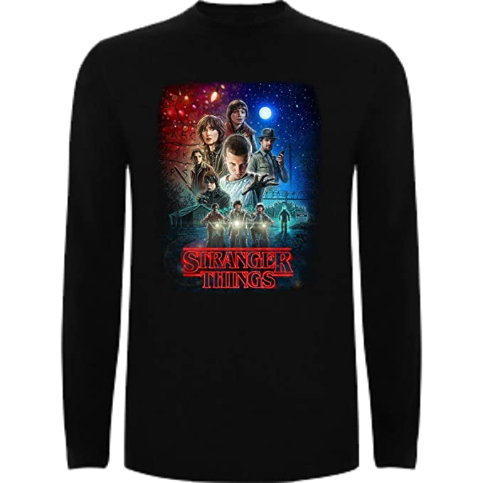 Camiseta Manga Larga de Mujer Stranger Things Serie Retro TV 80: Amazon.es: Ropa y accesorios