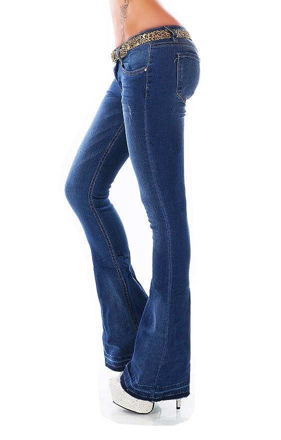 Damen Hüft Jeans Hose BootCut Schlag FlareCut Schlaghose ausgefranst Gürtel