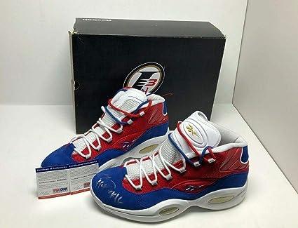 d51056a9b0de30 Allen Iverson Signed Reebok Question Mid Basketball Shoes quot HOF  2k16 quot   76ers - PSA