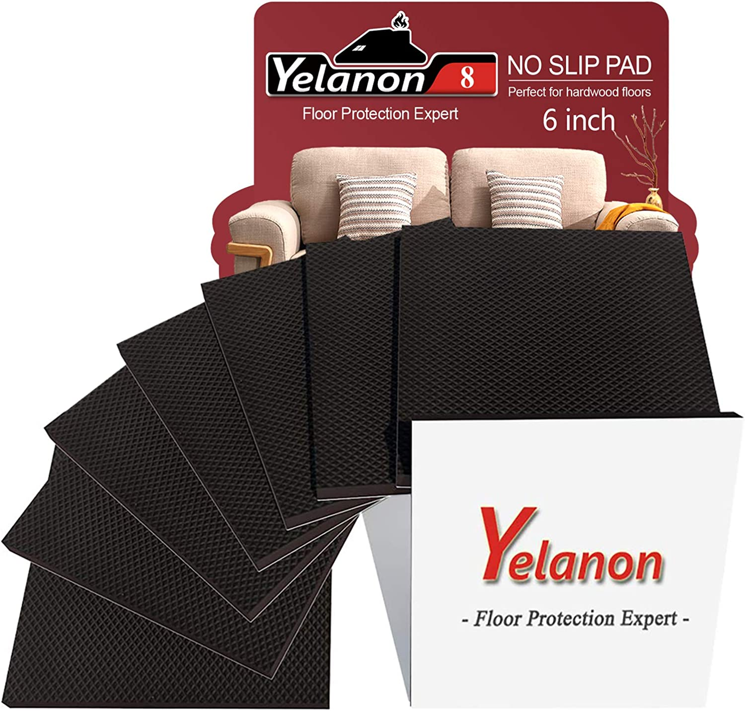 Yelanon Furniture Pads 8 Pcs 6'' Non Slip Furniture Pads Self Stick Hardwood Floor Protectors for Furniture Large Square Rubber Feet Furniture Grippers Chair Leg Floor Protectors Cut into Any Shape