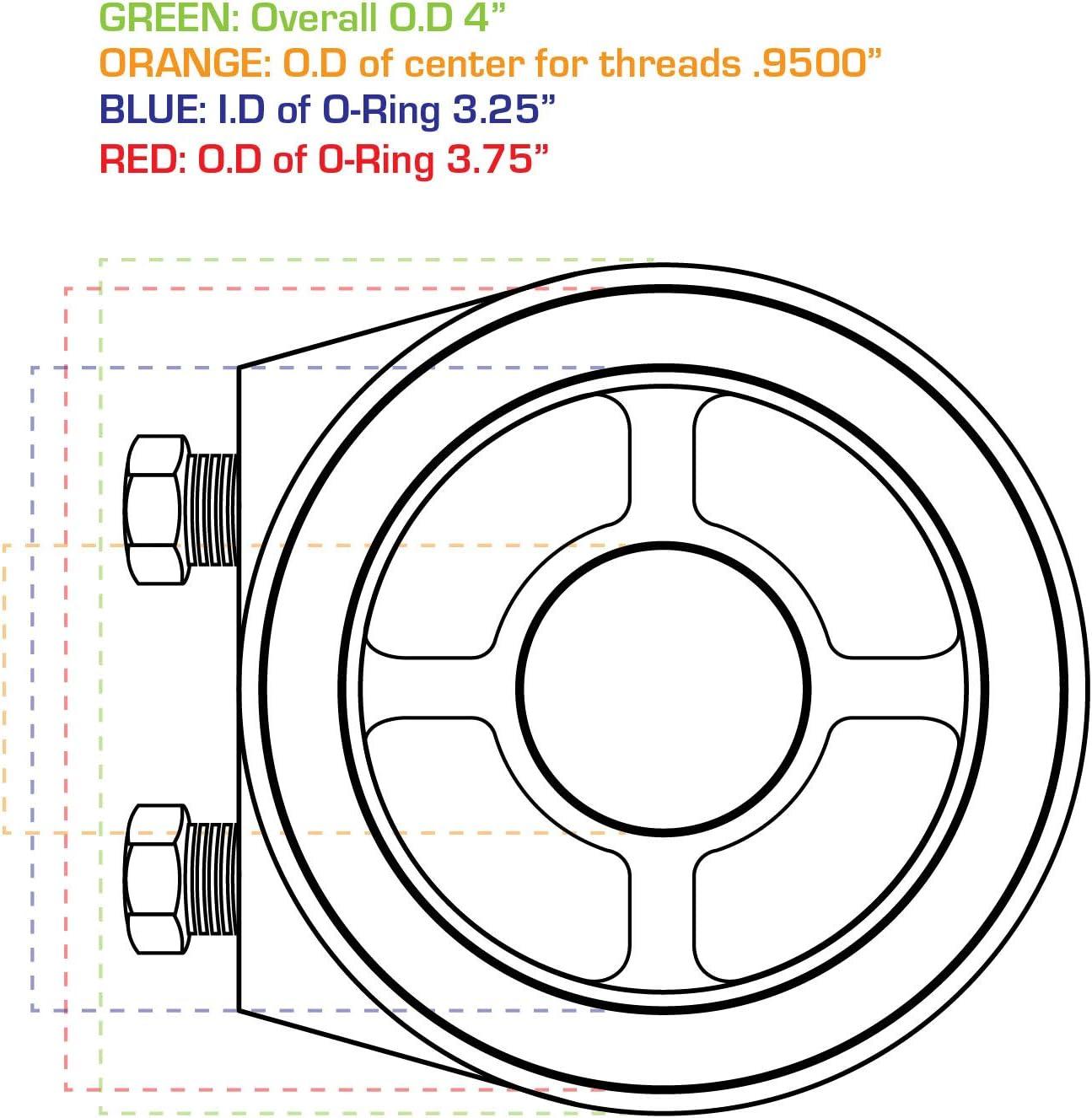 Buick Pontiac Oil Filter Adapter plate 13//16 UNF-16 sandwich plate Chevy