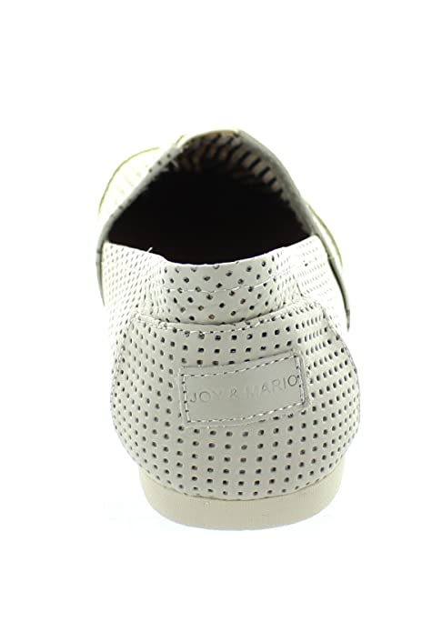 Amazon.com | Joy & Mario Mens Leather Alpargatas Slip Loafers Shoes Flats 61562M (White, Black in Size 8-13) | Shoes