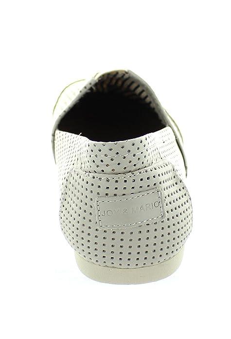 Amazon.com | Joy & Mario Mens Leather Alpargatas Slip Loafers Shoes Flats 61562M (White, Black in Size 8-13) | Shoes