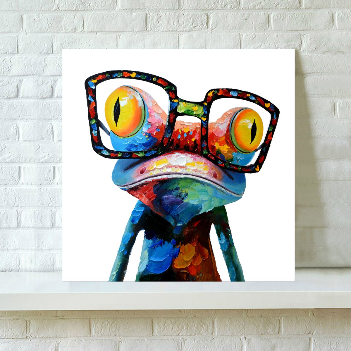 Very RAIN QUEEN 3D Full Colors Abstract Cute Frog Wearing Glasses Oil  NC07