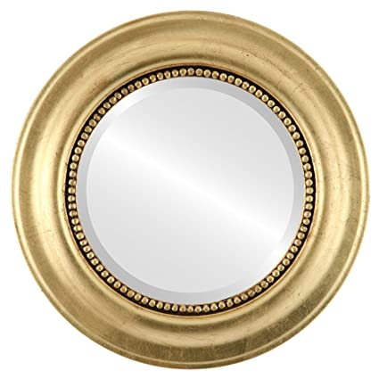 Round Wall Mirror for Home Decor, Bedroom, Living Room, Bathroom |  Decorative Framed Beveled Mirror | Heritage Style - Gold Leaf - 23x23 Inch  Outside ...