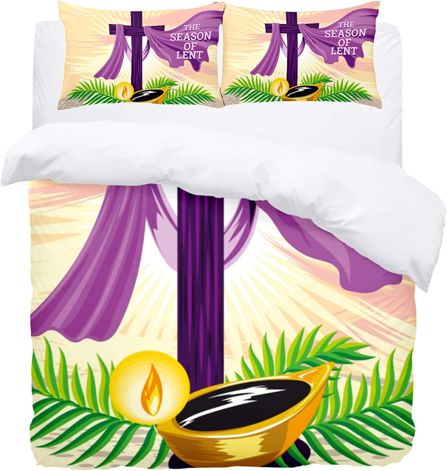 DEYYA Bedding Duvet Cover Set Holy Week. The Time of Lent. 3 Piece Microfiber Down Comforter Quilt Cover with Zipper Closure Ties for Men Women Teens