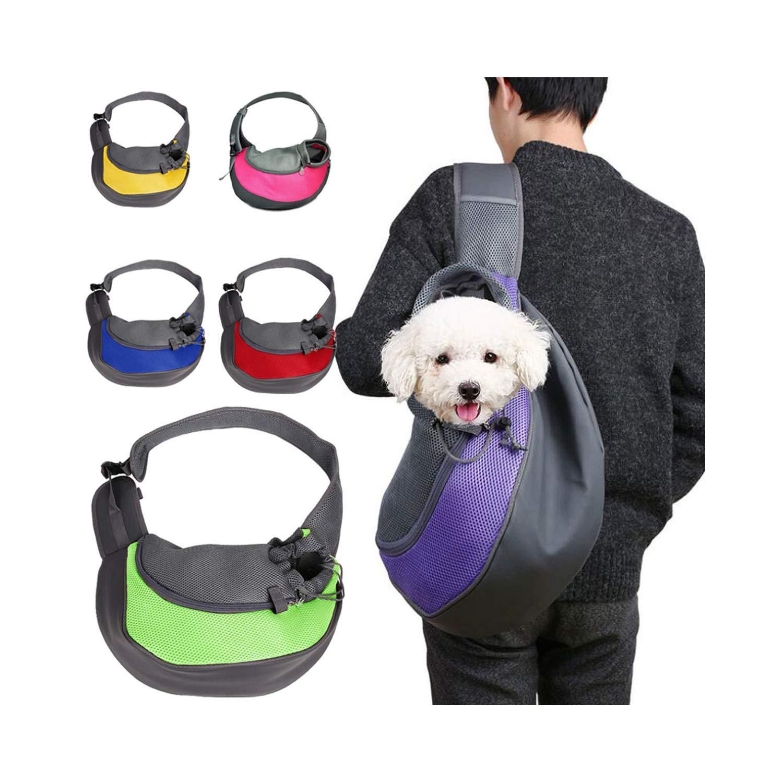 Pet Puppy Carrier Outdoor Travel Handbag Pouch Mesh Oxford Single Shoulder Bag Sling Mesh Travel Shoulder Bag,Pink,L