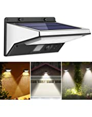OUSFOT Solar Lights Outdoor Motion Sensor, 21 LEDs Security Waterproof Wall Light 120 Degree Wide Angle Sensor Lighting with 3 Modes for Walkway, Garage(Solar Powered)