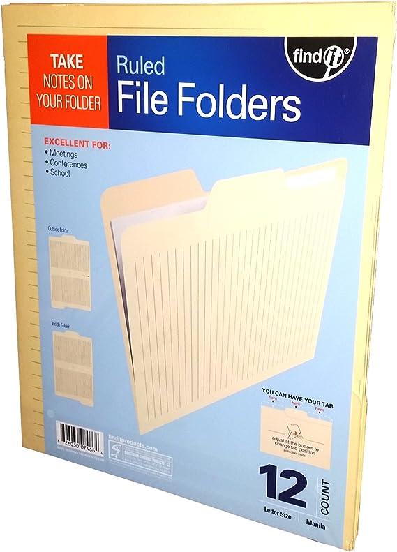 12 folders Manila files Office Supplies Find-It Ruled File Folders