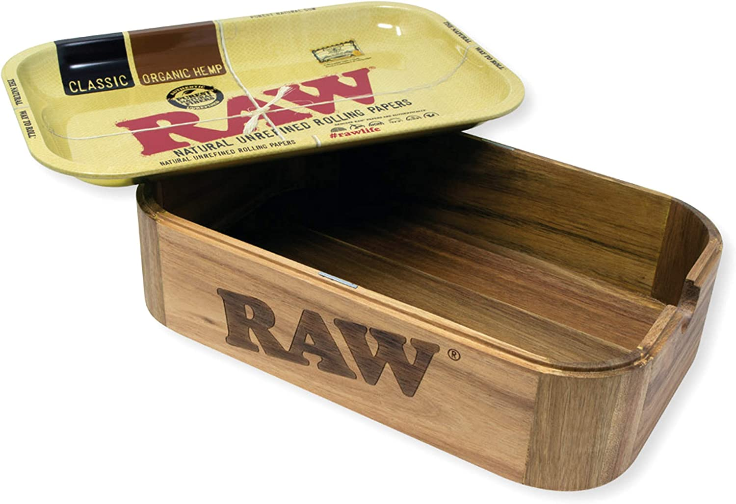 RAW 18870 Cache 28.0 x 17.5 x 7 cm-Wooden Box with Magnets and Metal Tray as Lid Wood