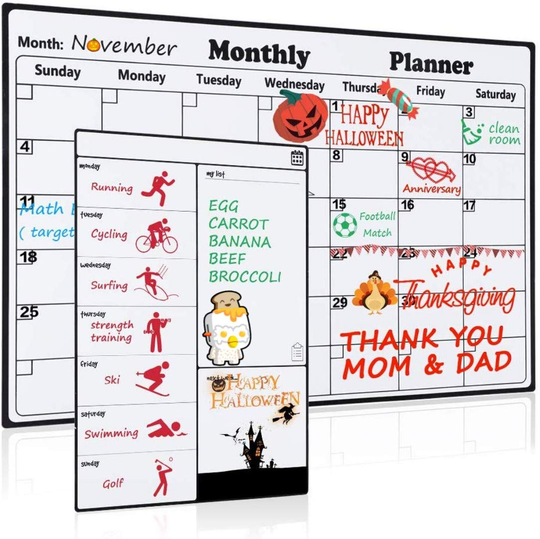 Magnetic Dry Erase Calendar for Refrigerator 2 Pack 2018-2019 Monthly & Weekly Planner Set Fridge Calendars Kitchen Organizer with Strong Magnets Large Organizing Whiteboard Reusable To Do List Meal Board Grocery List for Family Classroom Office HOMEIN