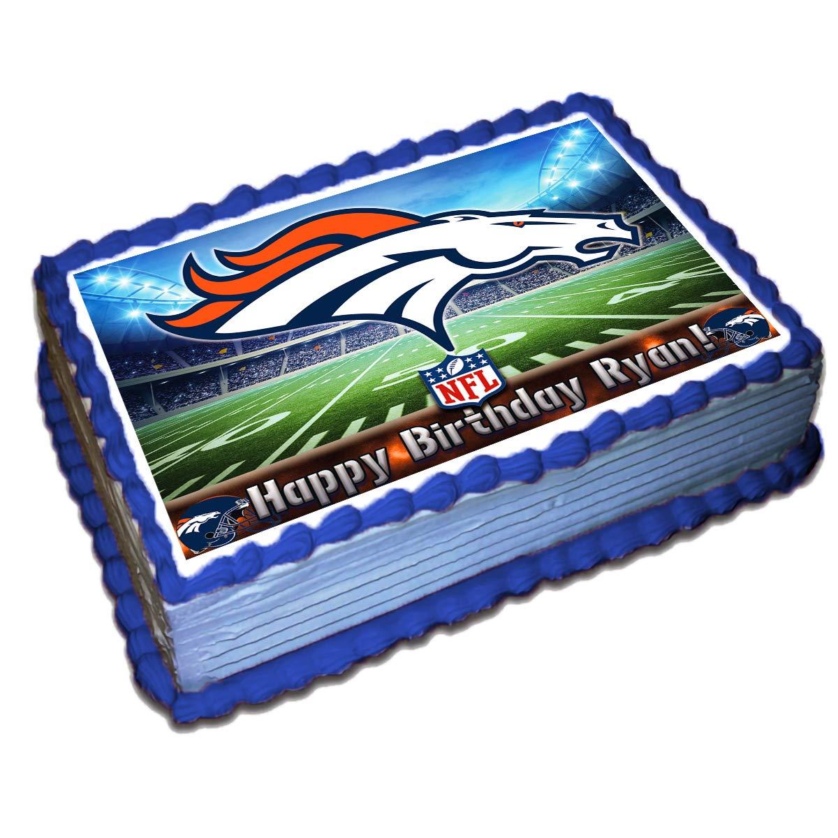 Pleasant Denver Broncos Nfl Decoracion Personalizada Para Tartas Papel Birthday Cards Printable Trancafe Filternl