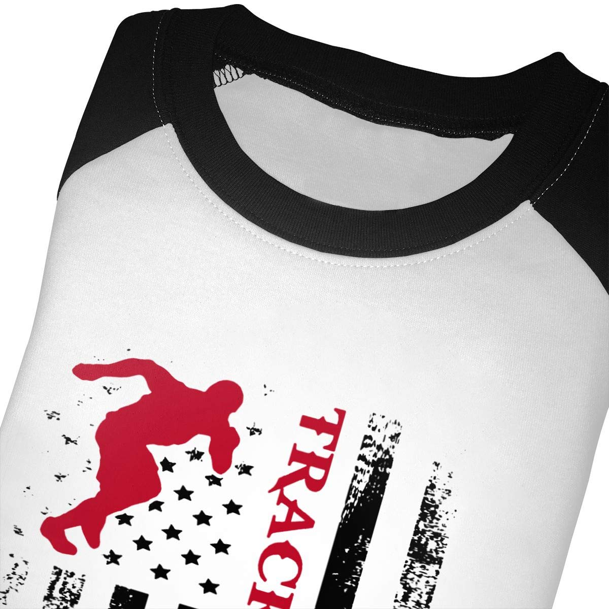 QPKMRTZTX0 Boys Girls Kids /& Toddler American Flag Track and Field Long Sleeve Tees 100/% Cotton