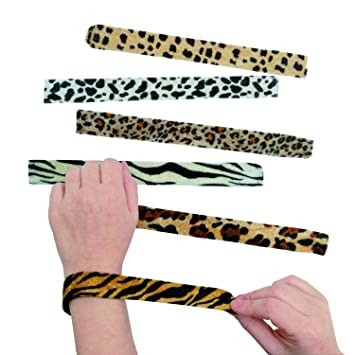 Animal Print Slap Bracelets - Assorted 12 pack: Amazon.es ...
