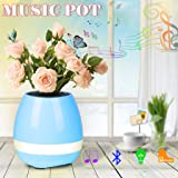 Music Flower Pot Bluetooth Wireless Speaker Night Light USB Charger Smart Round Cute Plant Pots Blue Pink White Blue Indoor(No Plant) (Blue)