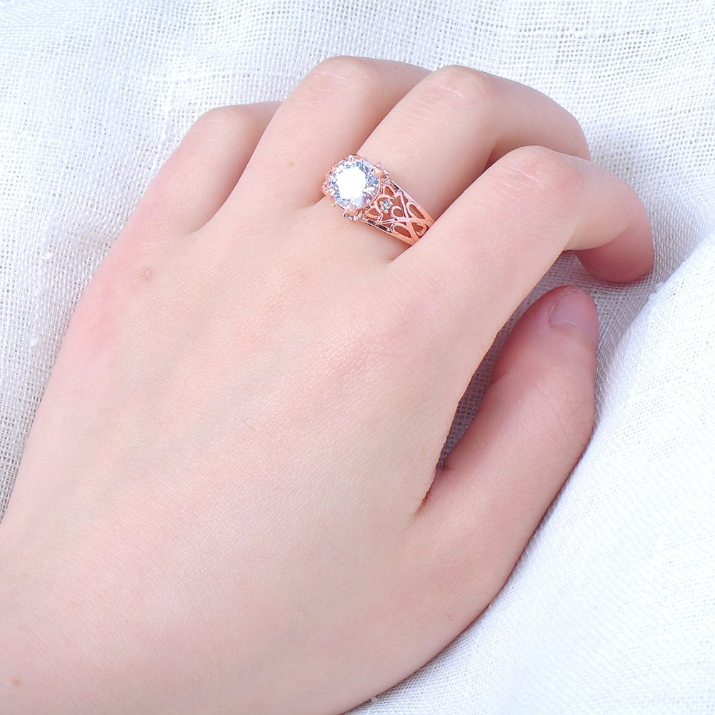 Top Two Rows of Small Diamonds The Middle of a Big Stone,10KT Rose Gold Ring Only for Girls Gifts