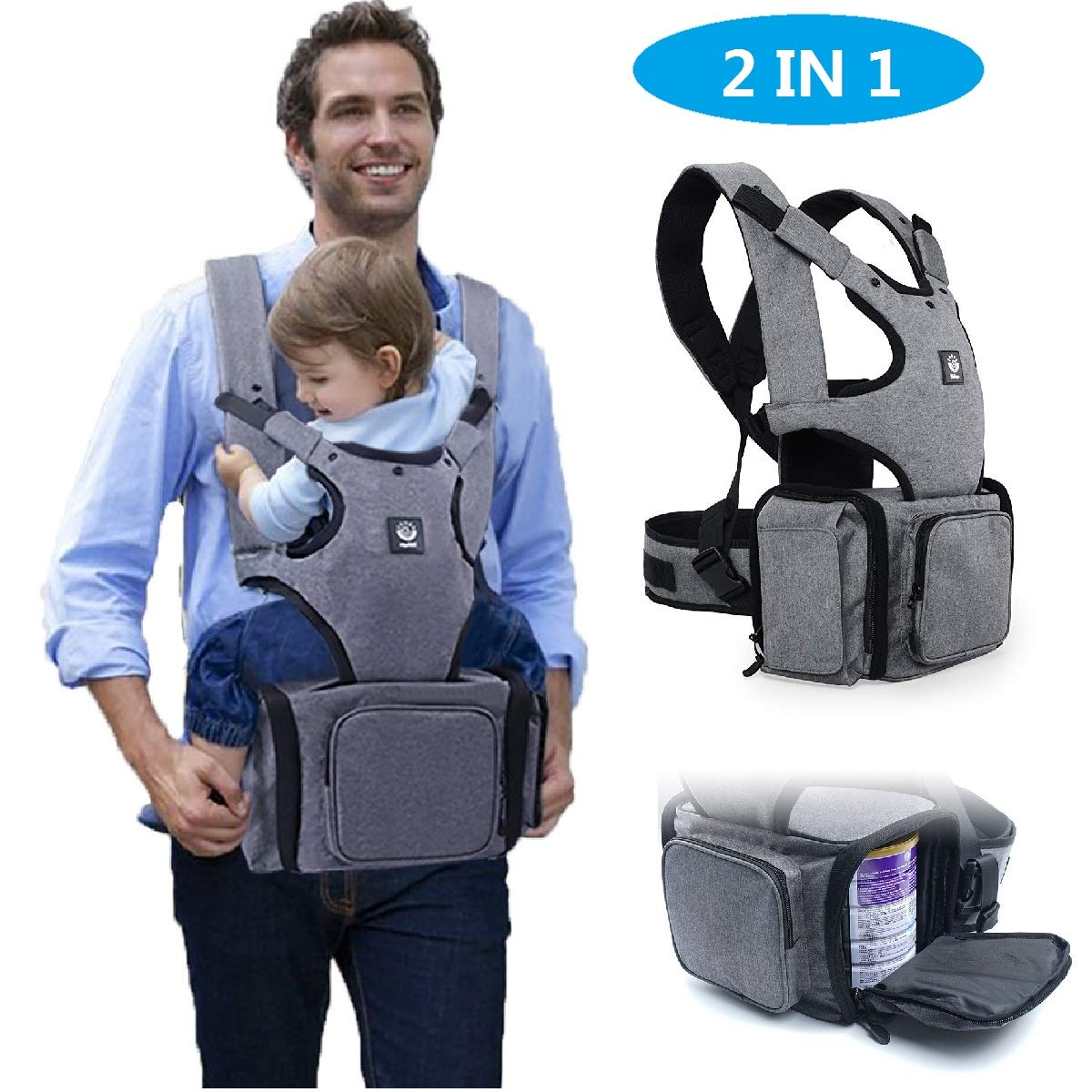 AUCOS Baby Carrier with Hip Seat - 2 in 1 Ergonomic Baby Sling Carrier and Dipers Bag Backpack Carrier