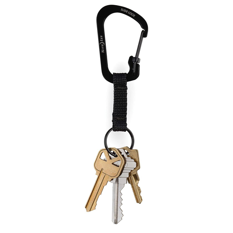 Nite Ize CSLW3-01-R6 SlideLock Ring, Aluminum Locking Carabiner Key, 3-25lb Capacity, Black