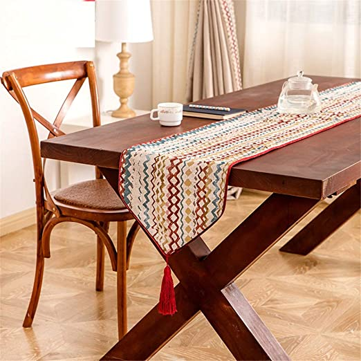 Corredores de mesa Table Runner Rayas onduladas Jacquard borlas ...
