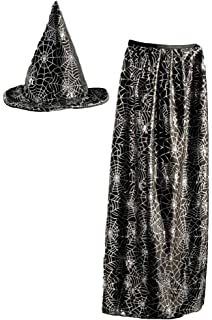 Kids Witch  Wizard Hat and Cape set- Black and Metallic Spider Web Design fabca02a83e3