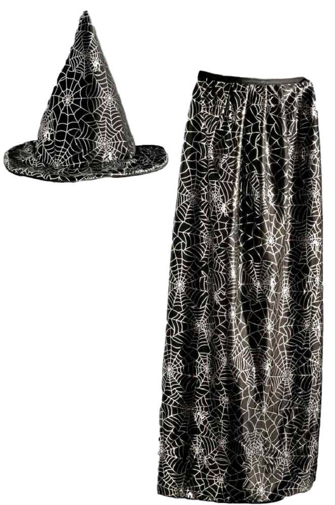 Set con cappello e mantello da mago o strega, per bambini, con motivo a ragnatele di colore metallizzato su sfondo nero Scream Machine