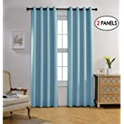 Miuco Blackout Curtains Room Darkening Curtains Textured Grommet Panels Living Room 2 Panels 52x84 Inch Long Sky Blue