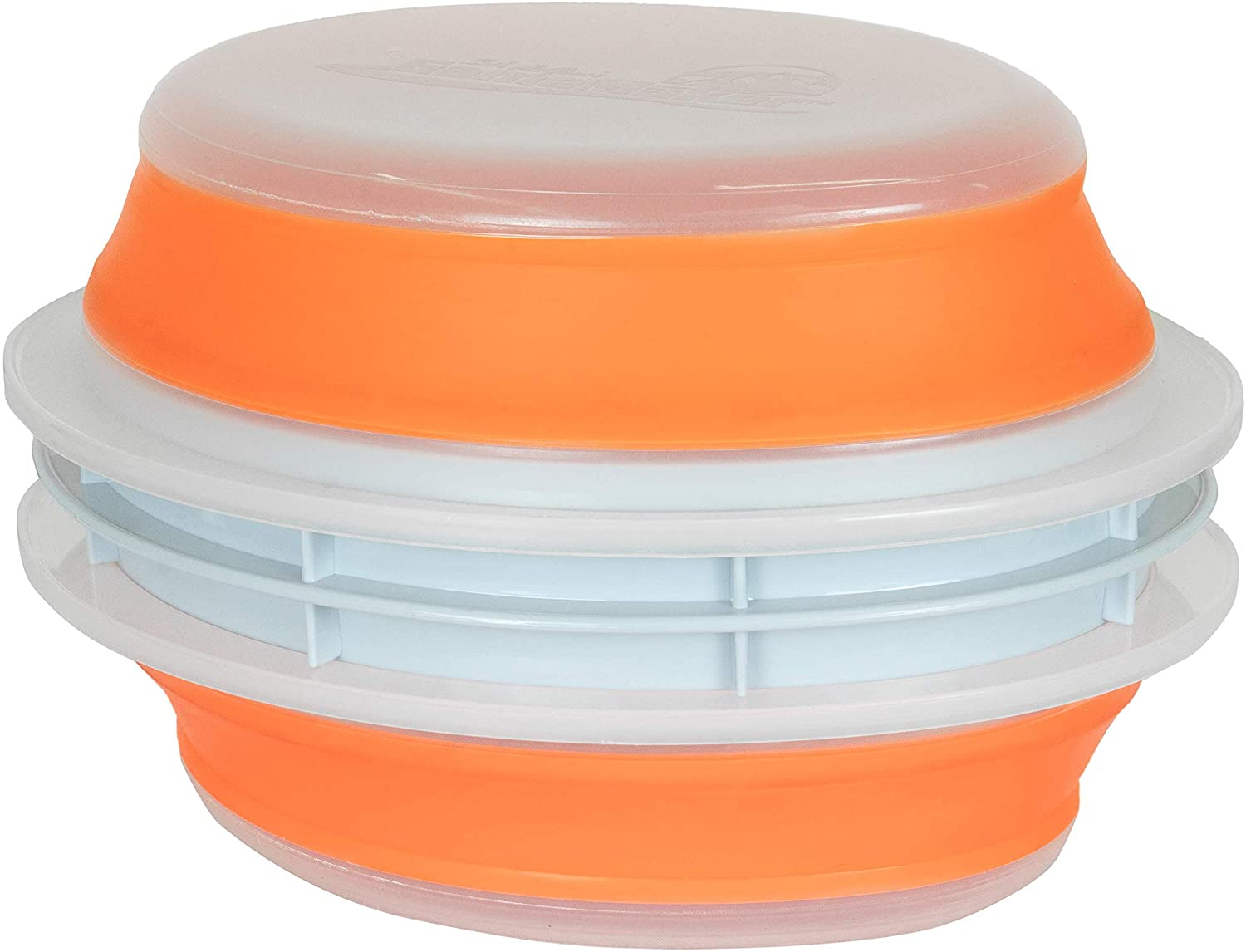 CanCooker Original Collapsible & Mess-Free Batter Bowl, Clear & Orange, Standard