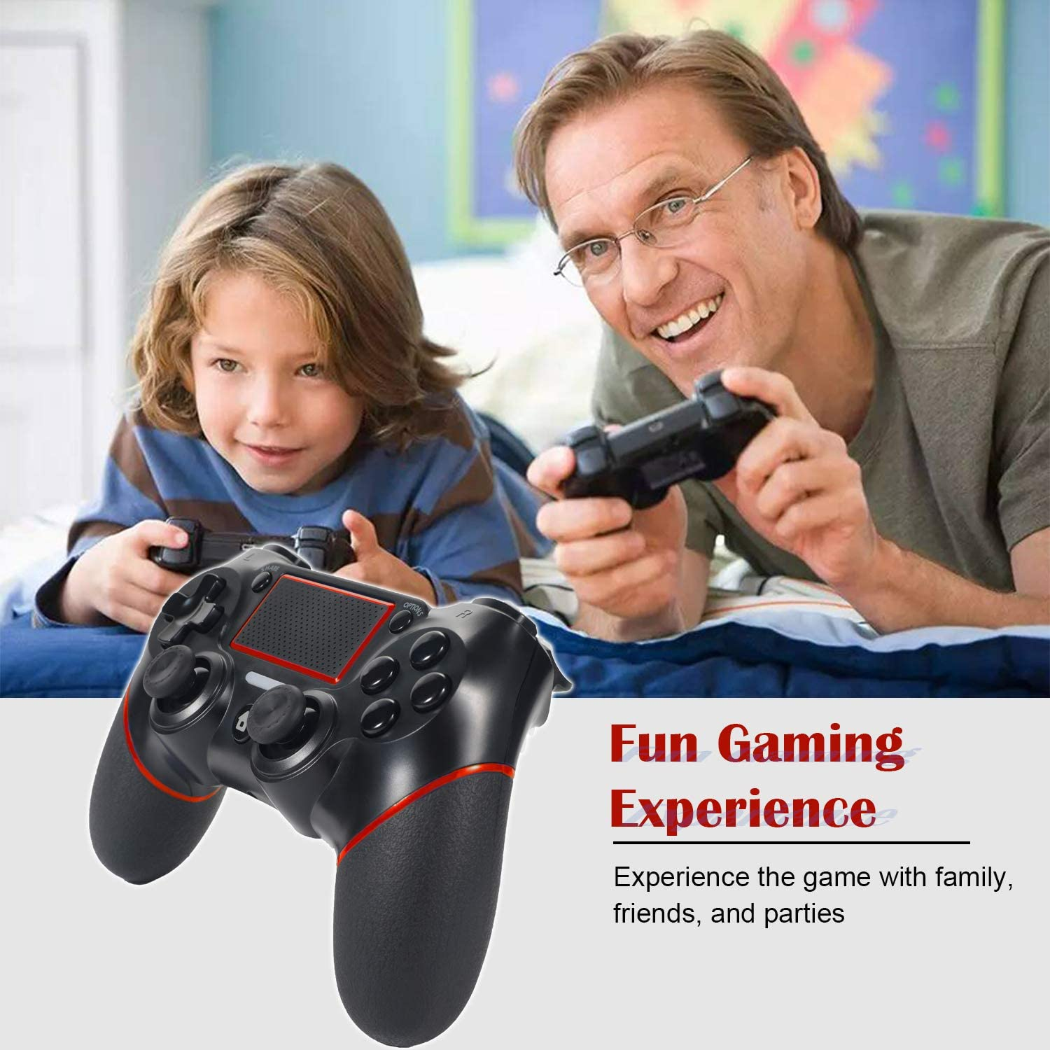 Double Vibration and Anti-Slip Colorful LED Indicator Sefitopher Wireless PS4 Controller wireless Gamepad for Play station 4//Pro//Slim//PC Laptop with 6 Axies,Audio Function