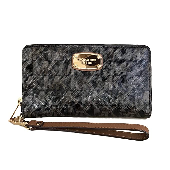 f0b481b6eca6 Michael Kors Jet Set Item Large Flat Multifunction Phone Wristlet Case Black  Brown  Amazon.ca  Clothing   Accessories
