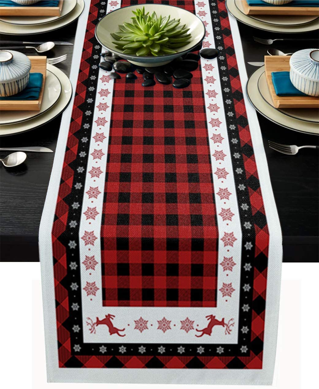 Libaoge Coffee Table Runner Christmas Red Black Buffalo Plaid Burlap Table Runner for Home Décor Crafts for Family Dinner, Parties, Thanksgiving, Christmas & Gathering 13x108inch