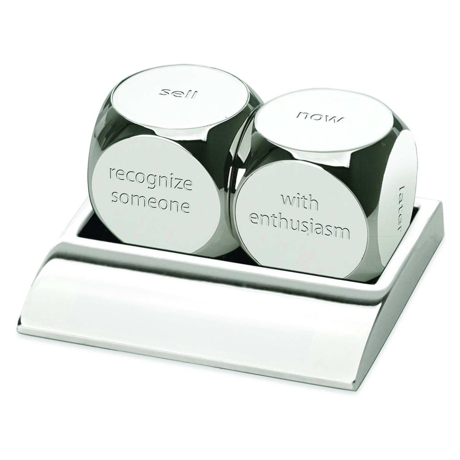 3-in-1 Executive Decision Dice Set. Die #1 ''Buy, Sell, Take A Break, Set A Goal, Make A Change, Recognize Someone''. Die #2 ''With Confidence, With Enthusiasm, Later, Now, Tomorrow, Maybe''. Silver